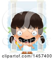 Clipart Of A 3d Happy Hispanic Girl Holding A Torch Over Columns Royalty Free Vector Illustration by Cory Thoman