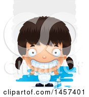 Clipart Of A 3d Grinning Hispanic Girl Painter Over Strokes Royalty Free Vector Illustration by Cory Thoman