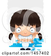 Clipart Of A 3d Mad Hispanic Girl Painter Over Strokes Royalty Free Vector Illustration