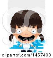 Poster, Art Print Of 3d Happy Hispanic Girl Painter Over Strokes