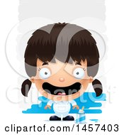 Clipart Of A 3d Happy Hispanic Girl Painter Over Strokes Royalty Free Vector Illustration