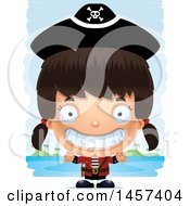 Clipart Of A 3d Grinning Hispanic Girl Pirate Over Strokes Royalty Free Vector Illustration by Cory Thoman