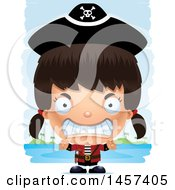Clipart Of A 3d Mad Hispanic Girl Pirate Over Strokes Royalty Free Vector Illustration by Cory Thoman