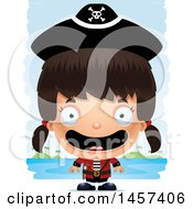 Clipart Of A 3d Happy Hispanic Girl Pirate Over Strokes Royalty Free Vector Illustration by Cory Thoman