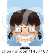 Clipart Of A 3d Grinning Hispanic Girl Scientist Over Strokes Royalty Free Vector Illustration