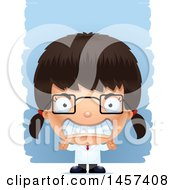 Clipart Of A 3d Mad Hispanic Girl Scientist Over Strokes Royalty Free Vector Illustration