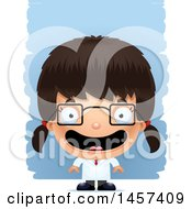 Clipart Of A 3d Happy Hispanic Girl Scientist Over Strokes Royalty Free Vector Illustration