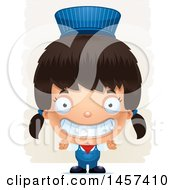 Clipart Of A 3d Grinning Hispanic Girl Train Engineer Over Strokes Royalty Free Vector Illustration