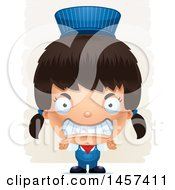 Clipart Of A 3d Mad Hispanic Girl Train Engineer Over Strokes Royalty Free Vector Illustration by Cory Thoman