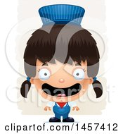 Clipart Of A 3d Happy Hispanic Girl Train Engineer Over Strokes Royalty Free Vector Illustration