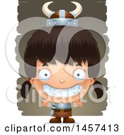 Clipart Of A 3d Grinning Hispanic Girl Viking Over Strokes Royalty Free Vector Illustration