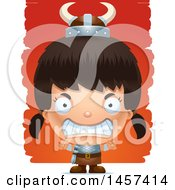 Clipart Of A 3d Mad Hispanic Girl Viking Over Strokes Royalty Free Vector Illustration by Cory Thoman