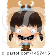 Clipart Of A 3d Happy Hispanic Girl Viking Over Strokes Royalty Free Vector Illustration