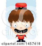 Clipart Of A 3d Happy White Boy Over Strokes Royalty Free Vector Illustration