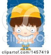 Clipart Of A 3d Grinning White Boy Over Strokes Royalty Free Vector Illustration
