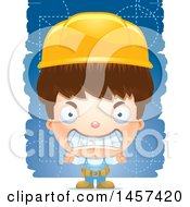 Clipart Of A 3d Mad White Boy Over Strokes Royalty Free Vector Illustration
