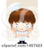 Clipart Of A 3d Mad White Boy Chef Over Strokes Royalty Free Vector Illustration