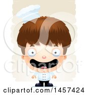 Clipart Of A 3d Happy White Boy Chef Over Strokes Royalty Free Vector Illustration