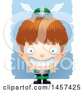 Clipart Of A 3d Grinning White Boy Elf Over Strokes Royalty Free Vector Illustration