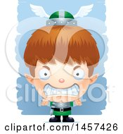 Clipart Of A 3d Mad White Boy Elf Over Strokes Royalty Free Vector Illustration