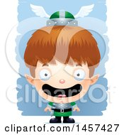 Clipart Of A 3d Happy White Boy Elf Over Strokes Royalty Free Vector Illustration