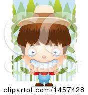 3d Grinning White Boy Farmer Over A Crop
