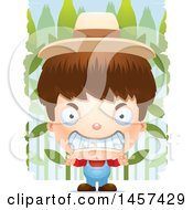 Clipart Of A 3d Mad White Boy Farmer Over A Crop Royalty Free Vector Illustration