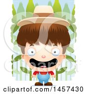 Clipart Of A 3d Happy White Boy Farmer Over A Crop Royalty Free Vector Illustration
