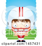 Clipart Of A 3d Grinning White Boy Football Player Over Strokes Royalty Free Vector Illustration