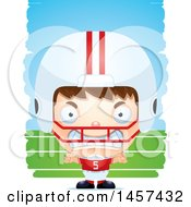 3d Mad White Boy Football Player Over Strokes
