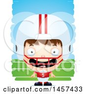 Clipart Of A 3d Happy White Boy Football Player Over Strokes Royalty Free Vector Illustration