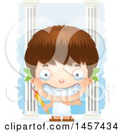 Clipart Of A 3d Happy White Boy Holding A Torch Over Columns Royalty Free Vector Illustration