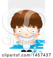 Clipart Of A 3d Grinning White Boy Painter Over Strokes Royalty Free Vector Illustration