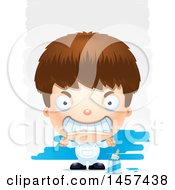 Clipart Of A 3d Mad White Boy Painter Over Strokes Royalty Free Vector Illustration