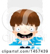 Clipart Of A 3d Happy White Boy Painter Over Strokes Royalty Free Vector Illustration