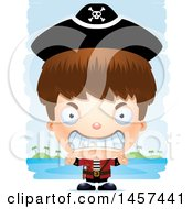 Clipart Of A 3d Mad White Boy Pirate Over Strokes Royalty Free Vector Illustration