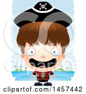 Clipart Of A 3d Happy White Boy Pirate Over Strokes Royalty Free Vector Illustration