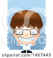 Clipart Of A 3d Grinning White Boy Scientist Over Strokes Royalty Free Vector Illustration