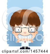Clipart Of A 3d Mad White Boy Scientist Over Strokes Royalty Free Vector Illustration