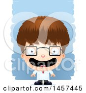 Clipart Of A 3d Happy White Boy Scientist Over Strokes Royalty Free Vector Illustration