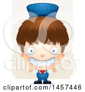 Clipart Of A 3d Grinning White Boy Train Engineer Over Strokes Royalty Free Vector Illustration