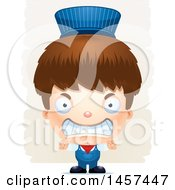 Clipart Of A 3d Mad White Boy Train Engineer Over Strokes Royalty Free Vector Illustration