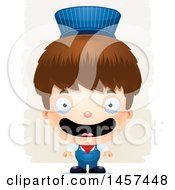 Clipart Of A 3d Happy White Boy Train Engineer Over Strokes Royalty Free Vector Illustration