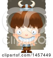 Clipart Of A 3d Grinning White Boy Viking Over Strokes Royalty Free Vector Illustration