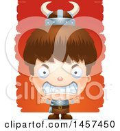 Clipart Of A 3d Mad White Boy Viking Over Strokes Royalty Free Vector Illustration