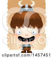 Clipart Of A 3d Happy White Boy Viking Over Strokes Royalty Free Vector Illustration