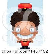 Clipart Of A 3d Black Boy Bellhop Over Strokes Royalty Free Vector Illustration by Cory Thoman