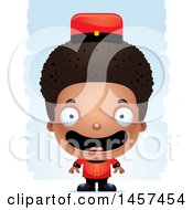 Clipart Of A 3d Happy Black Boy Bellhop Over Strokes Royalty Free Vector Illustration by Cory Thoman
