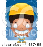 Clipart Of A 3d Grinning Black Builder Boy Over Blue Royalty Free Vector Illustration