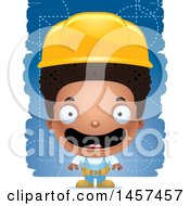 Clipart Of A 3d Happy Black Builder Boy Over Blue Royalty Free Vector Illustration